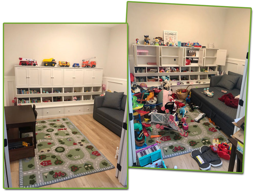 organizing a play room : before & after